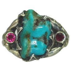 A Turquoise Ruby Silver Twig Ring
