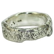 A Sterling Silver Mans Wedding Organic Ring