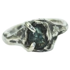 An Aquamarine Sterling Silver Organic Contemporary Art Jewelry Ring