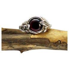 A Garnet Sterling Silver Free Form Woman's Organic Leaf Ring