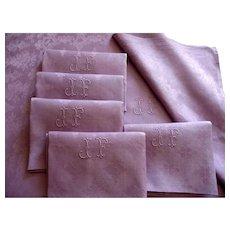 Antique French linen Dinner napkins, Monogrammed linen,6 linen Table napkins, lilac napkins,monogrammed linen, fine French linen
