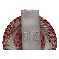 """6 white linen napkins ,monogram """"MD"""" great gift for Mum and Dad, Antique French linen damask, white table linens"""