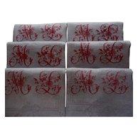 "linen dinner napkins, 6 Antique French linen napkin's, red monogram ML ""Much Love"" perhaps"", French linen table napkins"