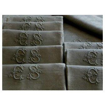 Dinner napkins,9 antique French linen table napkins, Green Christmas napkins, linen damask napkins, Christmas supper napkins, monogrammed