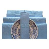 9 French linen silk damask napkins,finest fil de lin, antique napkins, Blue napkins, French table linens