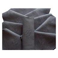 """stunning French linen napkins,monogrammed French linen """"D"""" scenes of the chasse/the hunt,grey linen table napkins"""