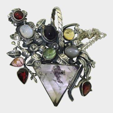 Vintage Arts & Crafts Multi Gem Pin/Pendant