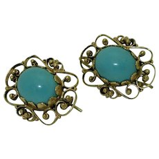 14K Victorian Revival Turquoise Earrings