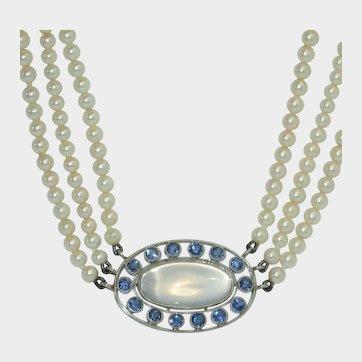 Rare Platinum, Moonstone, Yogo Sapphire Cultured Pearl Necklace
