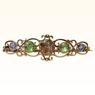 Antique Early Arts & Crafts Multi Gem 14K Brooch
