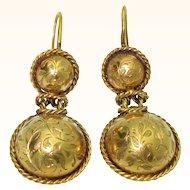 Rare Antique 14K Victorian Hand Engraved Earrings