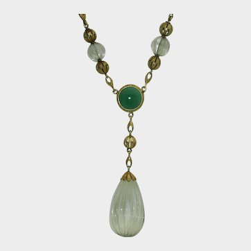 Rare 1930's Krementz 14K Rock Crystal, Chrysoprase Necklace