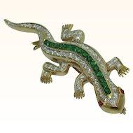 18K Gecko Pin with Diamonds and Tsavorite Garnets