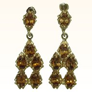 Natural Gold Zircon Designer 14K Chandelier Earrings