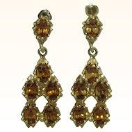 Natural Gold Zircon Designer 14K Chandelier Earrings
