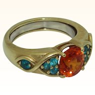 18K Spessartite Garnet and Paraiba Tourmaline Ring