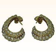 Elegant 14K Gold Diamond Crescent Earrings