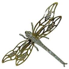 Vintage 18K Diamond Dragonfly Brooch Signed Dankner
