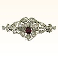 Antique Diamond Ruby Heart Brooch