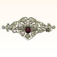 Antique Diamond Ruby Heart Brooch
