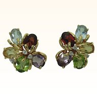 Vintage 14K Multi Gem Cluster Earrings