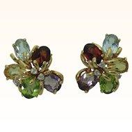Vintage 14K Multi Gem Cluster Earrings
