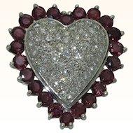 Vintage 14K Ruby Diamond Heart Pin/Pendant