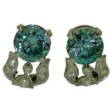 Art Deco Blue Zircon Diamond Platinum Earrings
