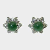 Vintage 18K White Gold Jade Diamond Earrings