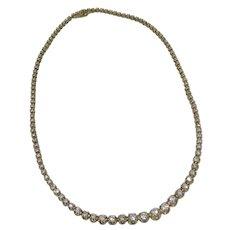 14 Karat Yellow Gold Diamond Riviere Necklace