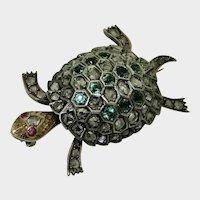 Antique 14K & Silver Tortoise Brooch