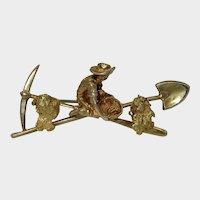 Antique American Gold Rush 10K Brooch