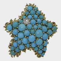 Vintage 18K Turquoise Starfish Brooch Tiffany & Co.