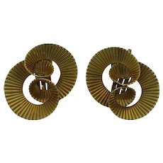 Retro 14K Swirl Clip Earrings