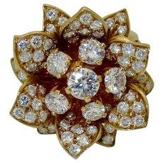 Vintage Belgian 18K Diamond Flower Ring