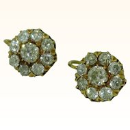 Antique Diamond Cluster Earrings 18K