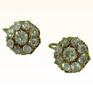 Antique Diamond Cluster Earrings 18K