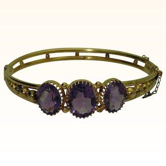 Vintage Russian 14K Amethyst Bangle Bracelet