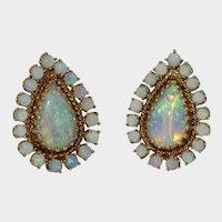 Vintage Retro 14K Opal Clip Earrings