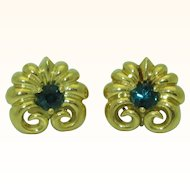 Stunning 18k Scallop Green Tourmaline Earrings