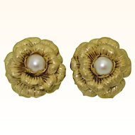 Bold 18K Cultured Pearl Flower Earrings