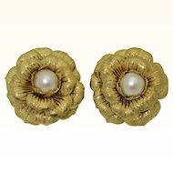 Bold 18K Cultured Pearl Flower Earrings