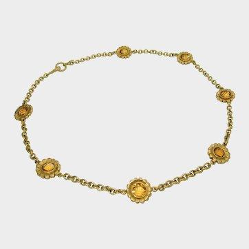Designer Bielka 18K Citrine Flower Necklace