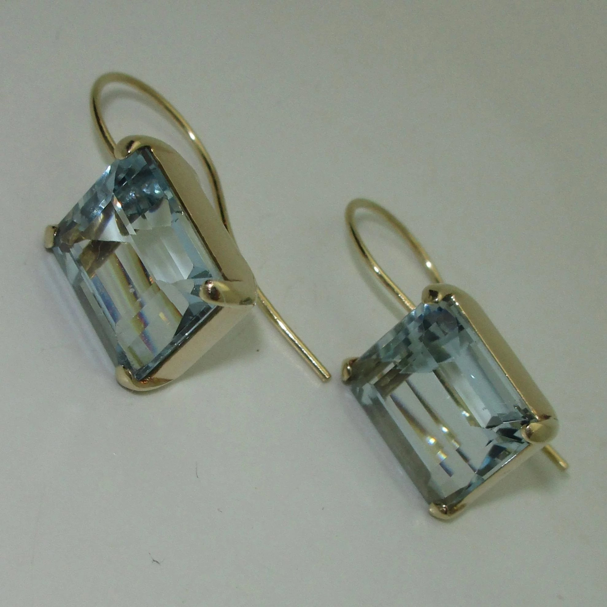 gold yellow ref jewelry genuine earrings aquamarine ctw
