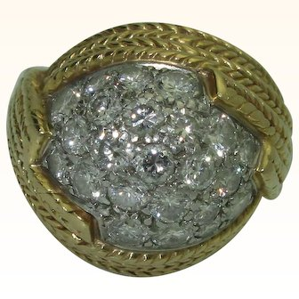 Vintage 18K Diamond Dome Ring