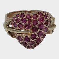 Romantic Retro 14K Ruby Heart Ring