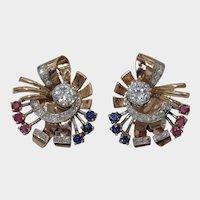 Retro 14K Gemstone Fireworks Earrings