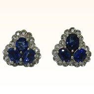 Glamorous 14K White Gold Sapphire Earrings