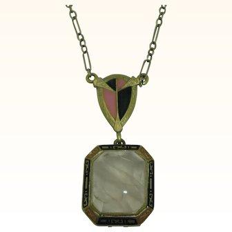 14K Art Deco Rose Quartz Enamel Necklace