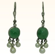 Antique GIA Jade, Pearl, Diamond 14K White Gold Earrings
